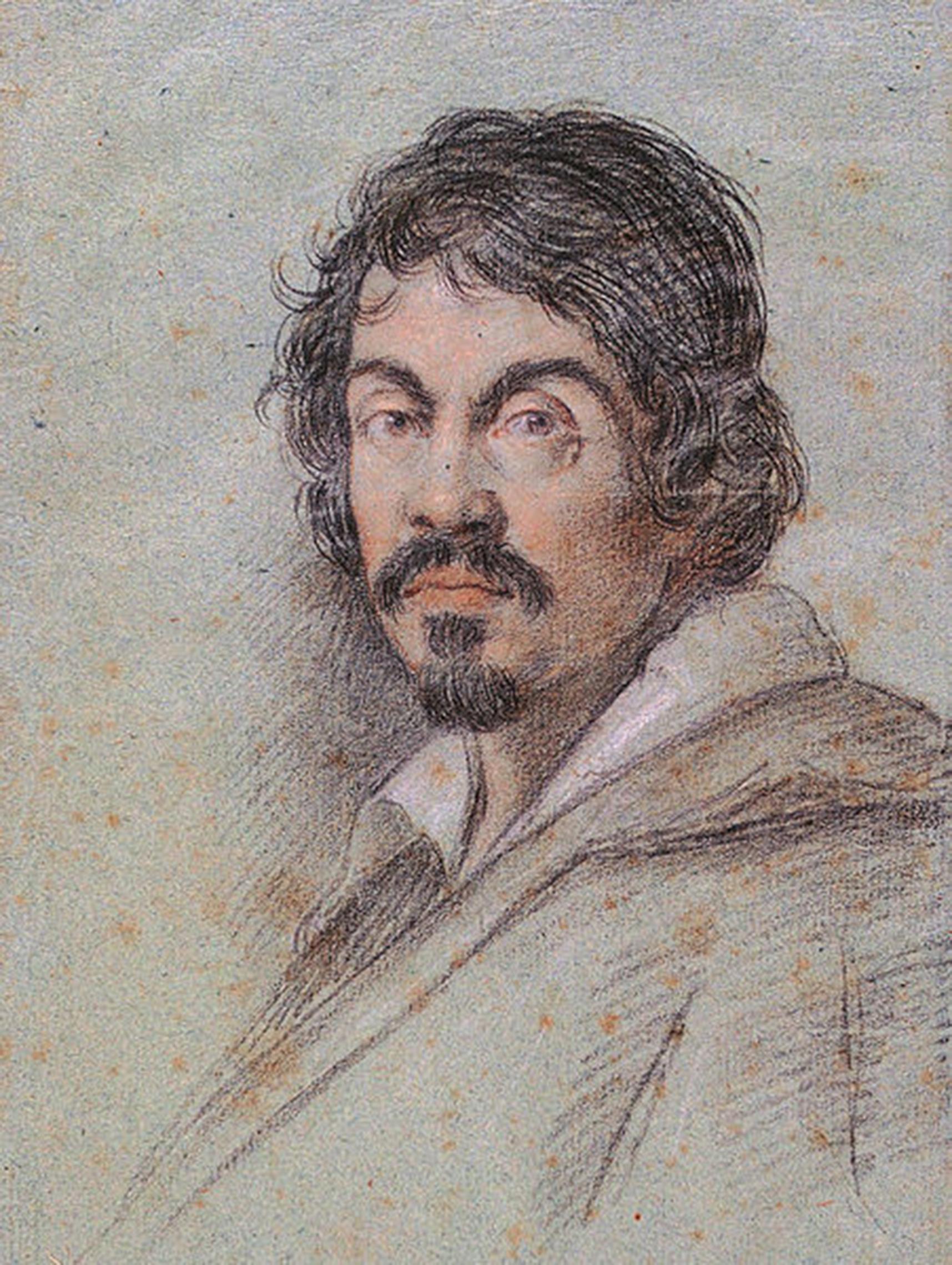 Ottavio Leoni, Ritratto di Caravaggio, 1621. Carboncino nero e pastelli su carta blu, Firenze, Biblioteca Marucelliana, inventario n. BMF DIS. VOL. H n. 4