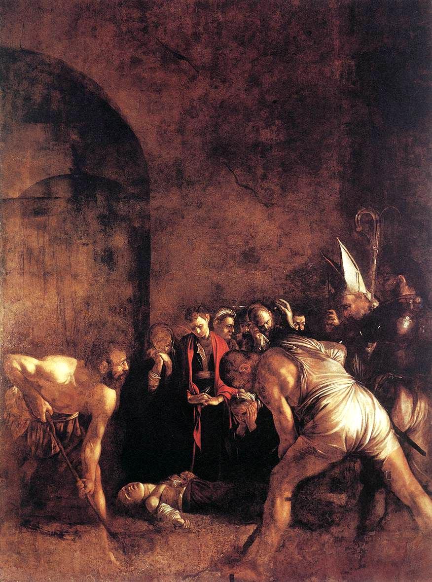 Caravaggio, Seppellimento di Santa Lucia, 1608, olio su tela, Siracusa, Chiesa di Santa Lucia alla Badia