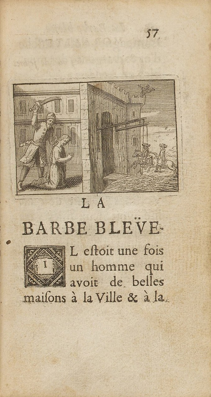 Incipit di La Barbe bleüe di Charles Perrault. Edizione originale di Histoires du temps passé, avec des moralitez, chez C. Barbin (à Paris), 1697 (gallica.bnf.fr / BNF)