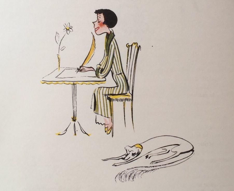 Disegno di Colette Rosselli dal Diario della Signorina snob (1951) di Franca Valeri
