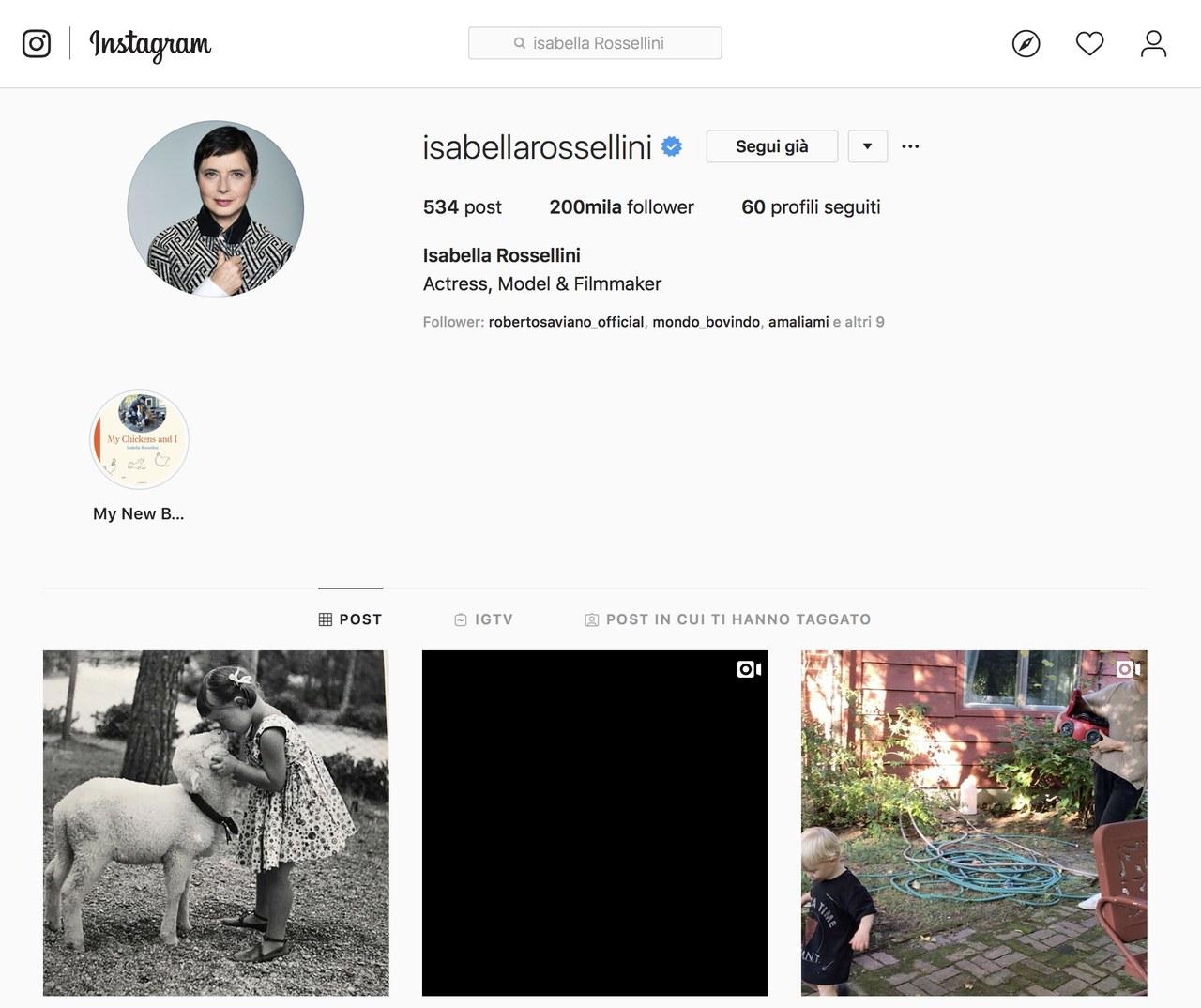 Pagina Instagram di Isabella Rossellini