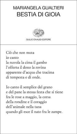 Copertina di Bestia di gioia, Torino, Einaudi, 2010 di Mariangela Gualtieri