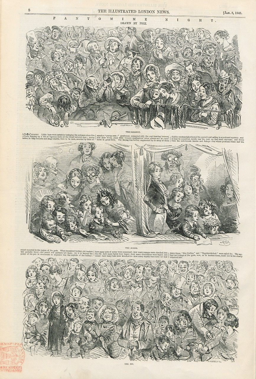 Phiz (Hablot K. Browne), Pantomime Night: The Gallery; The Pit; The Boxes. The Illustrated London News, 8 January 1848. Courtesy of the Sackler Library