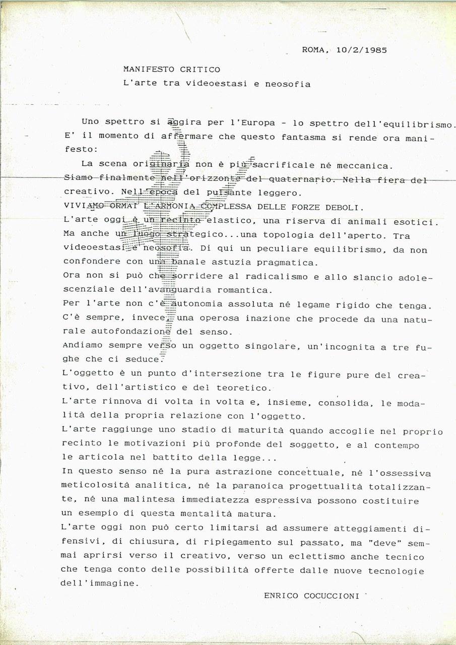 Enrico Cocuccioni, Manifesto critico. L'arte tra videostasi e neosofia, 1985, dattiloscritto, Archivio Il Pulsante Leggero