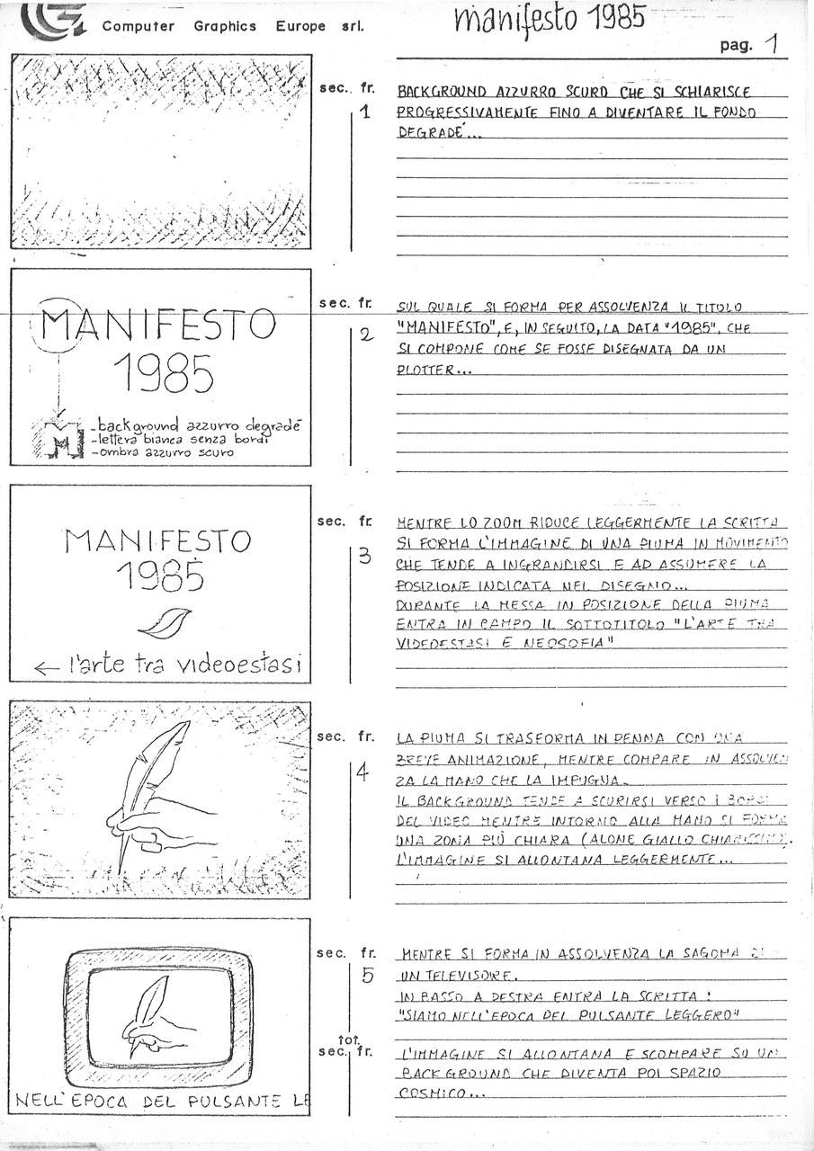 Enrico Cocuccioni, Manifesto 1985. L'arte tra videostasi e neosofia, 1985, storyboard p. 1 di 5, Archivio Il Pulsante Leggero