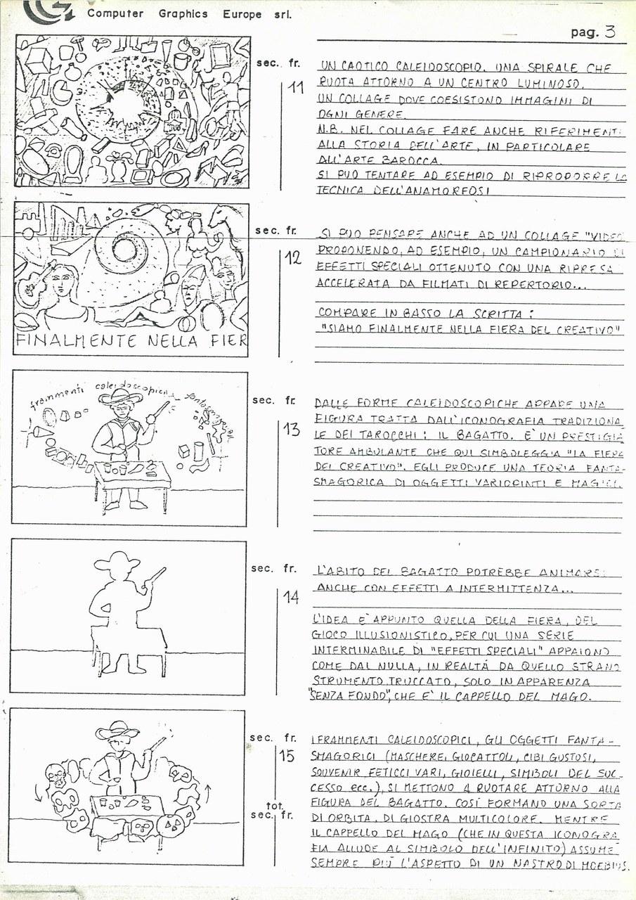 Enrico Cocuccioni, Manifesto 1985. L'arte tra videostasi e neosofia, 1985, storyboard p. 3 di 5, Archivio Il Pulsante Leggero