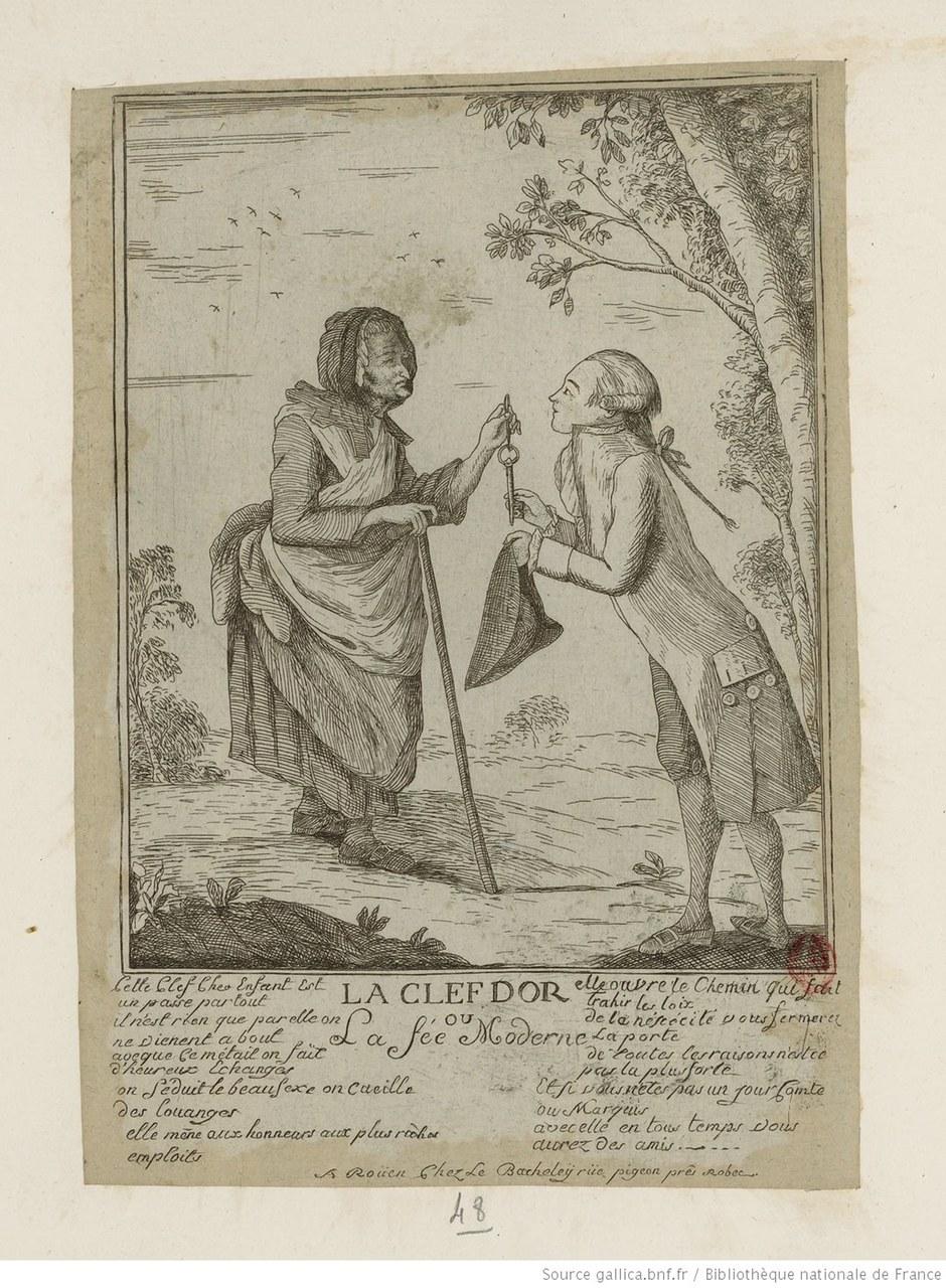 Fig. 1 Jacques Bacheley (1712-1781), La clef d'or ou La Fée Moderne. Graveur (gallica.bnf.fr / BNF).