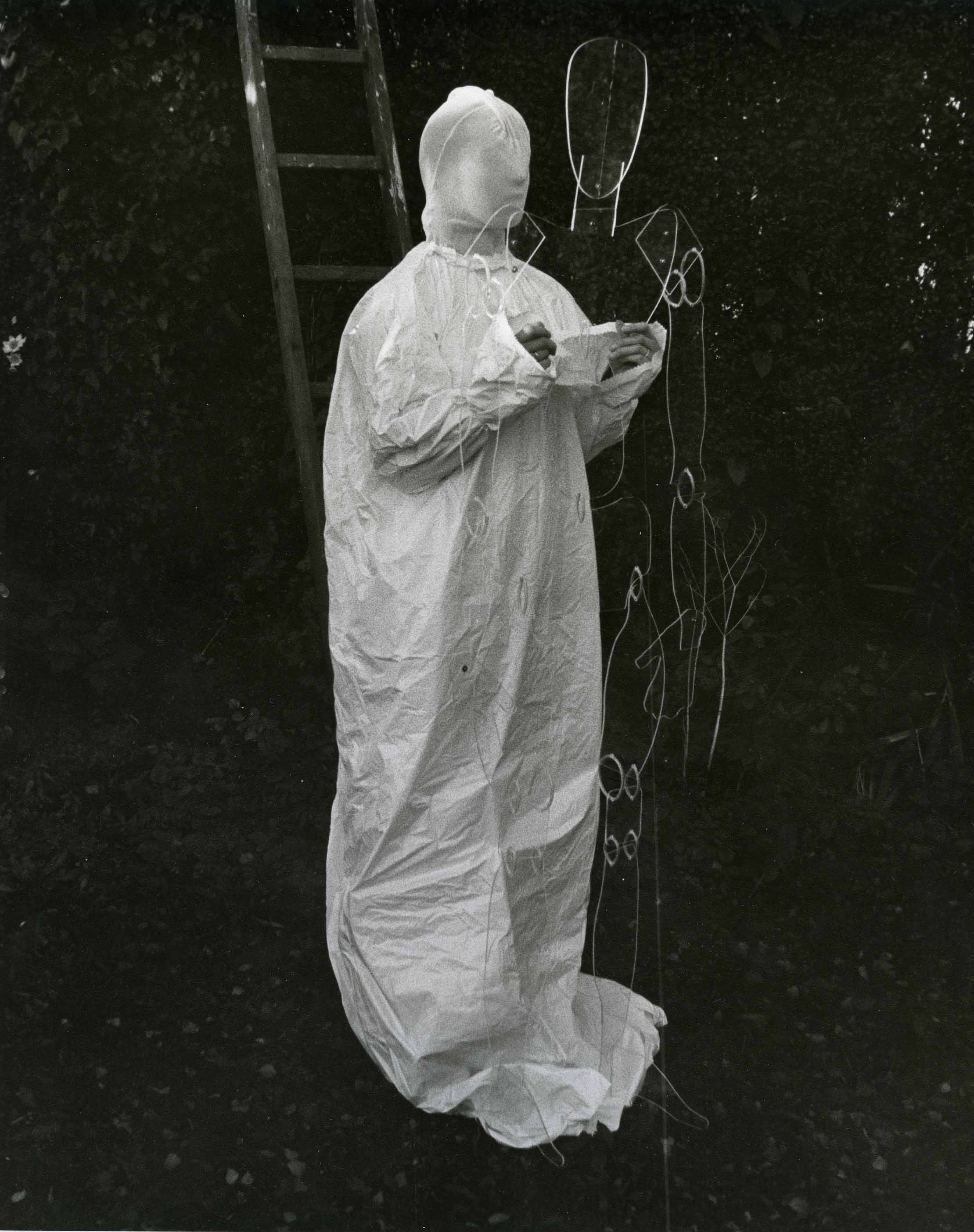 Fig. 1 Elaine Shemilt, iamdead, 1974, photograph from the set. Courtesy of the artist