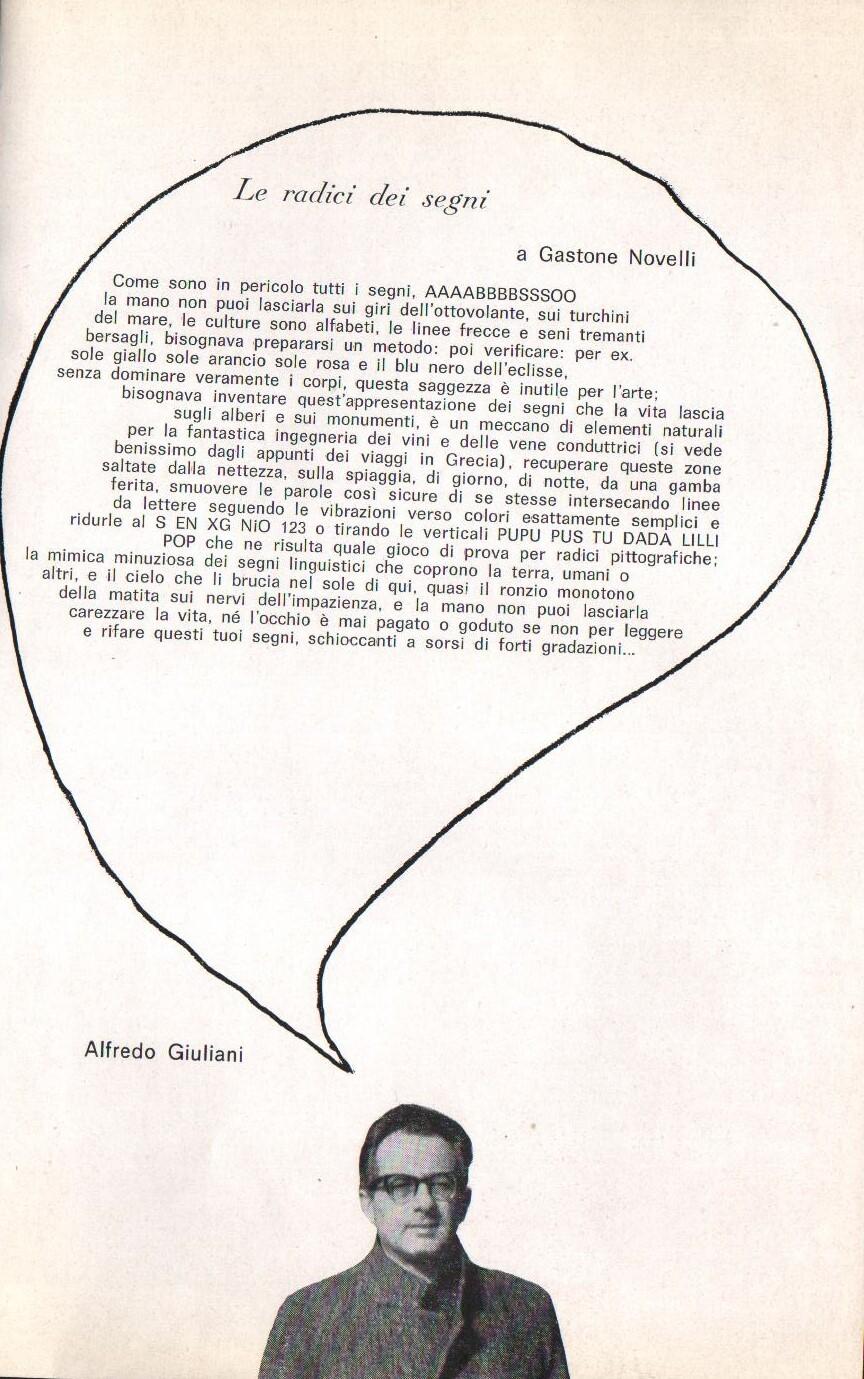 A. Giuliani, brochure della mostra di Novelli alla galleria Il segno, 1965