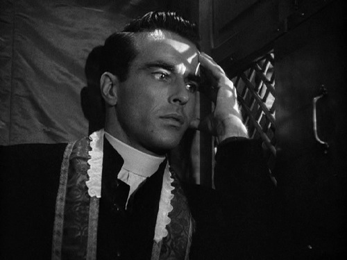 Montgomery Clift nel film I Confess di Alfred Hithcock, 1953