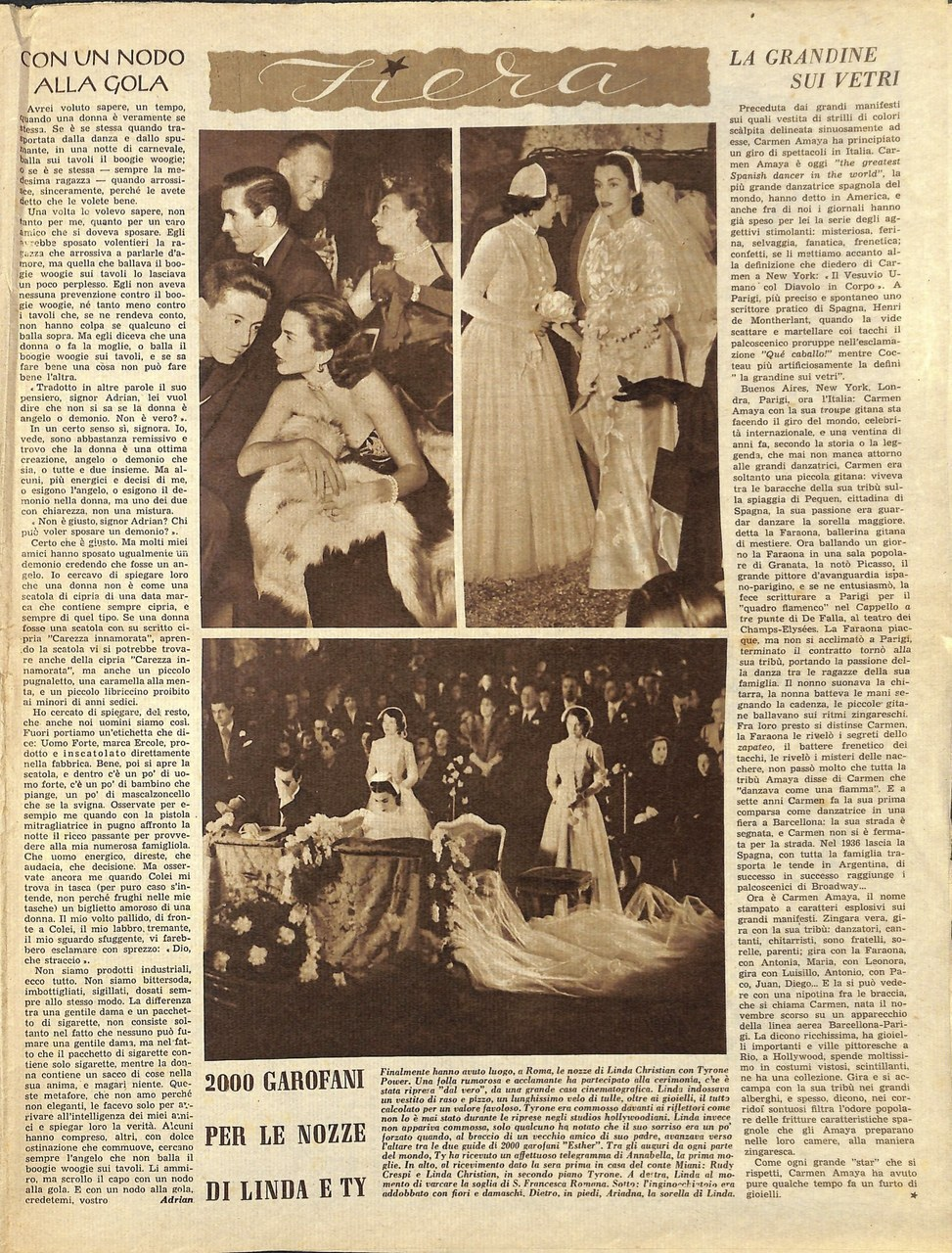 Il matrimonio di Linda Christian, Annabella, n.7, 13 febbraio 1949