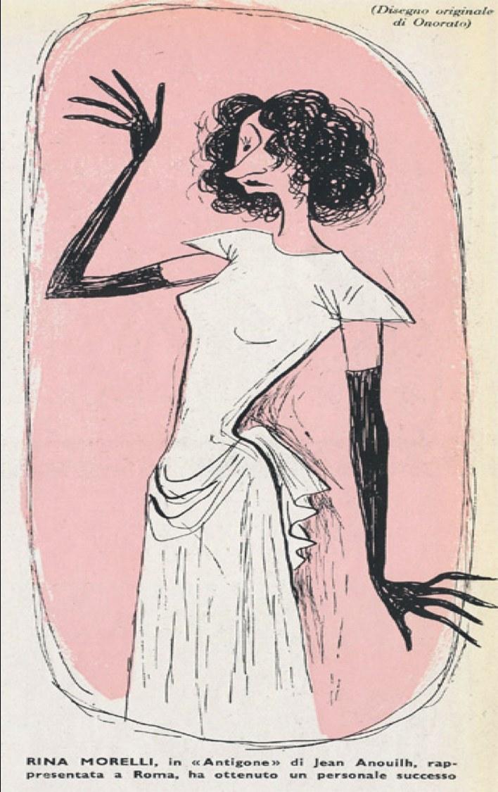 Rina Morelli caricaturizzata come Antigone, Il Dramma, nn. 2-3, dicembre 1945 (Centro Studi del Teatro Stabile di Torino).