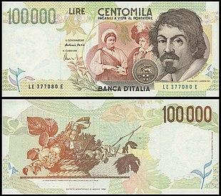 Banconota da centomila lire, 1983-98, fronte e retro