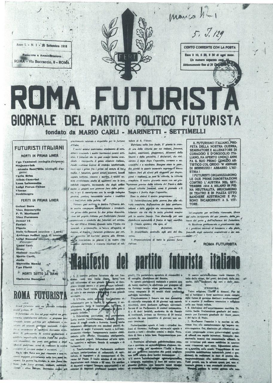 Primo numero del periodico Roma Futurista (1918-1920) fondato da F.T. Marinetti, M. Carli e E. Settimelli, 20 settembre 1918