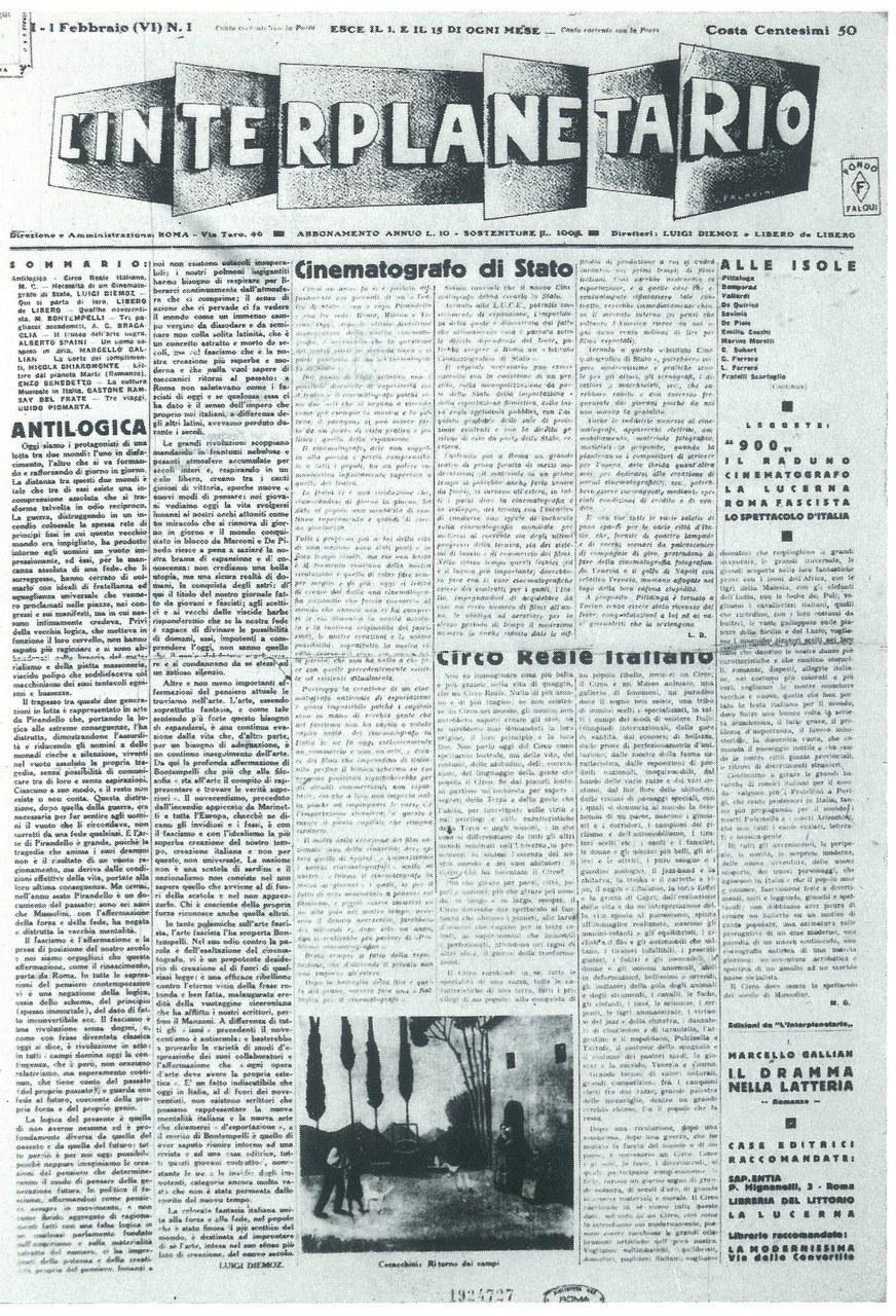 Primo numero del periodico L'Interplanetario, fondato da L. Diemoz e L. De Libero, 1 febbraio 1928