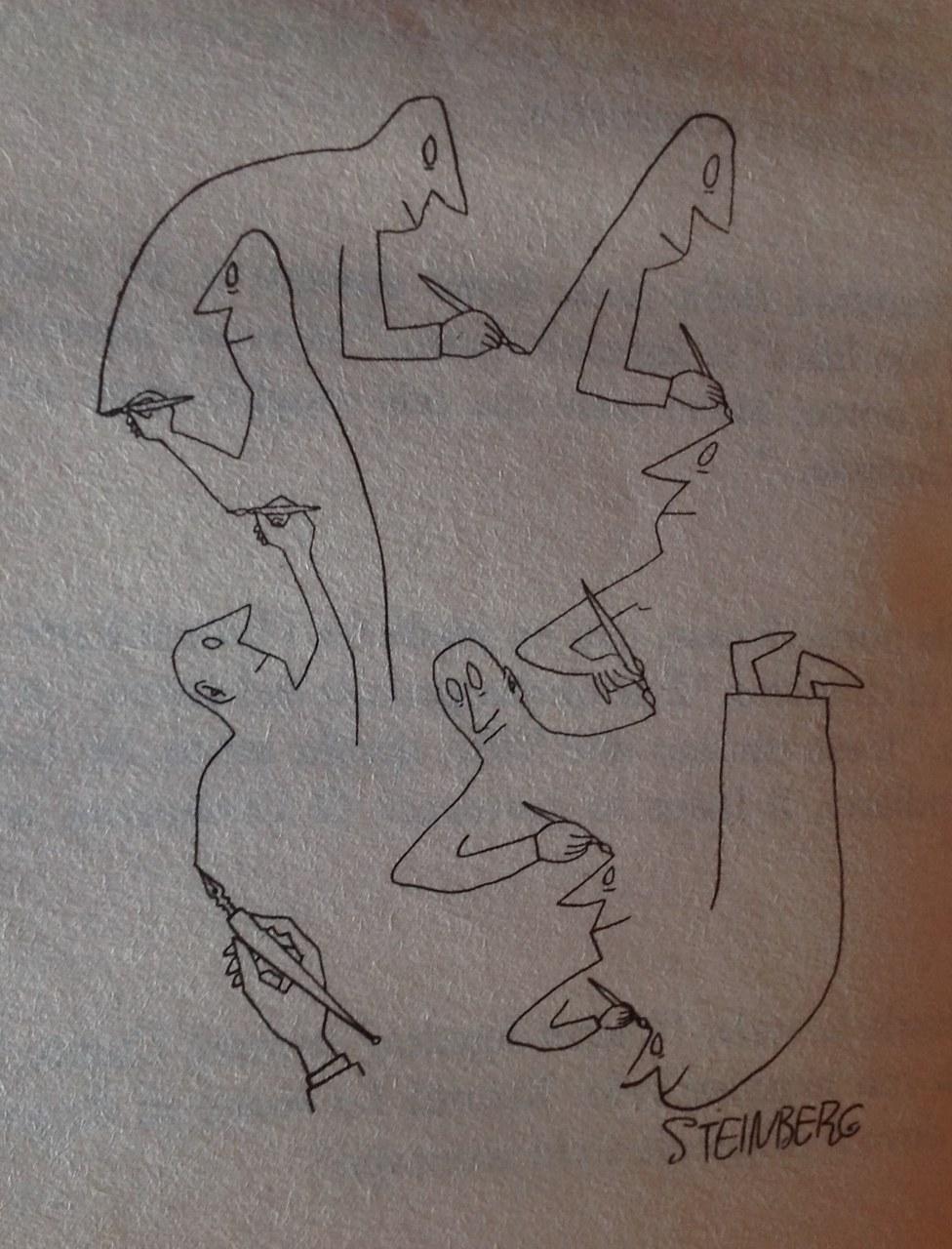 disegno di Saul Steinberg, 1946, in G. Bufalino, Qui pro quo, Milano, Bompiani, 2003