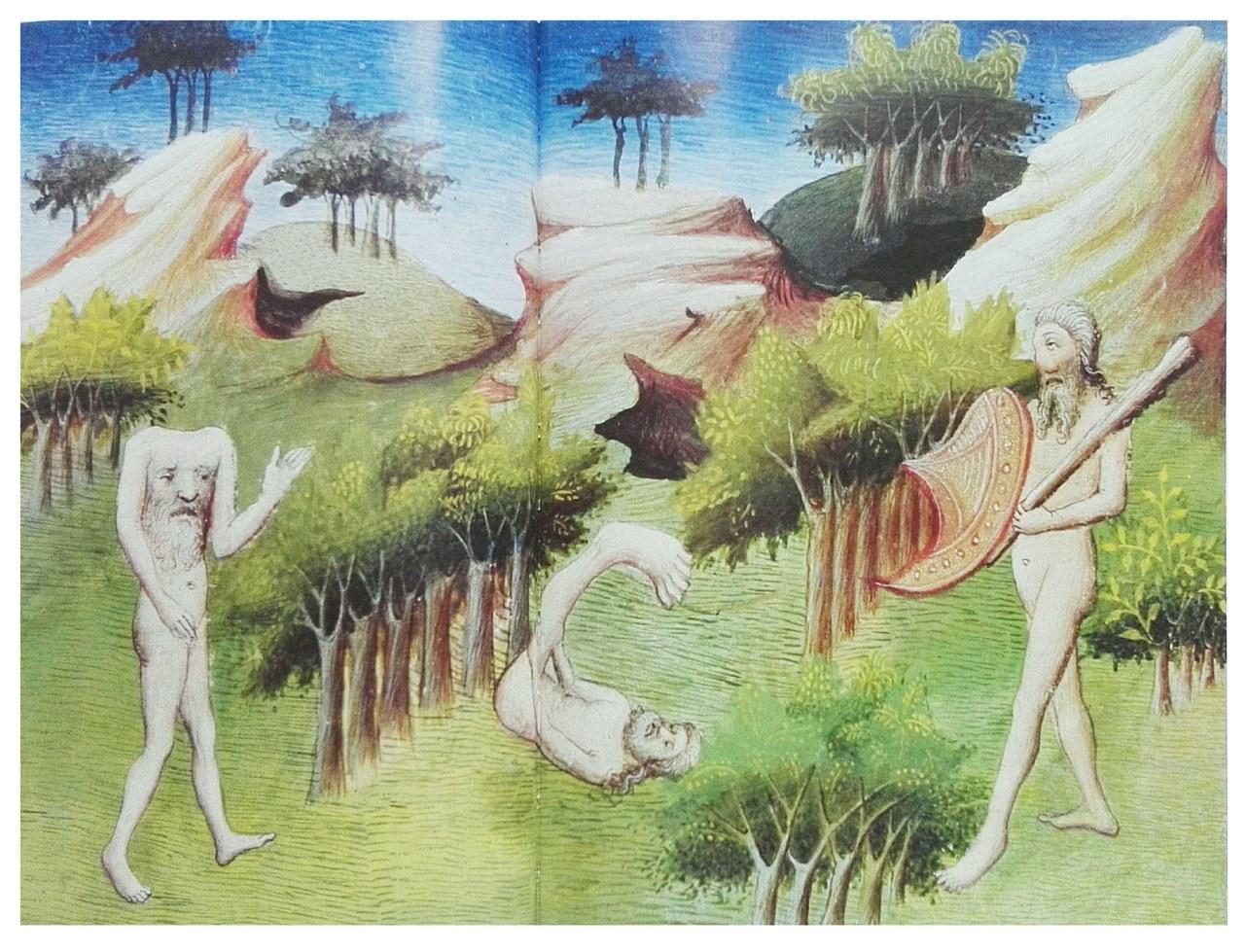 Maestro di Boucicault, Livre des Merveilles, Ms. Fr. 2810 riprodotto alle pp. 110-111 della Storia delle terre e dei luoghi leggendari