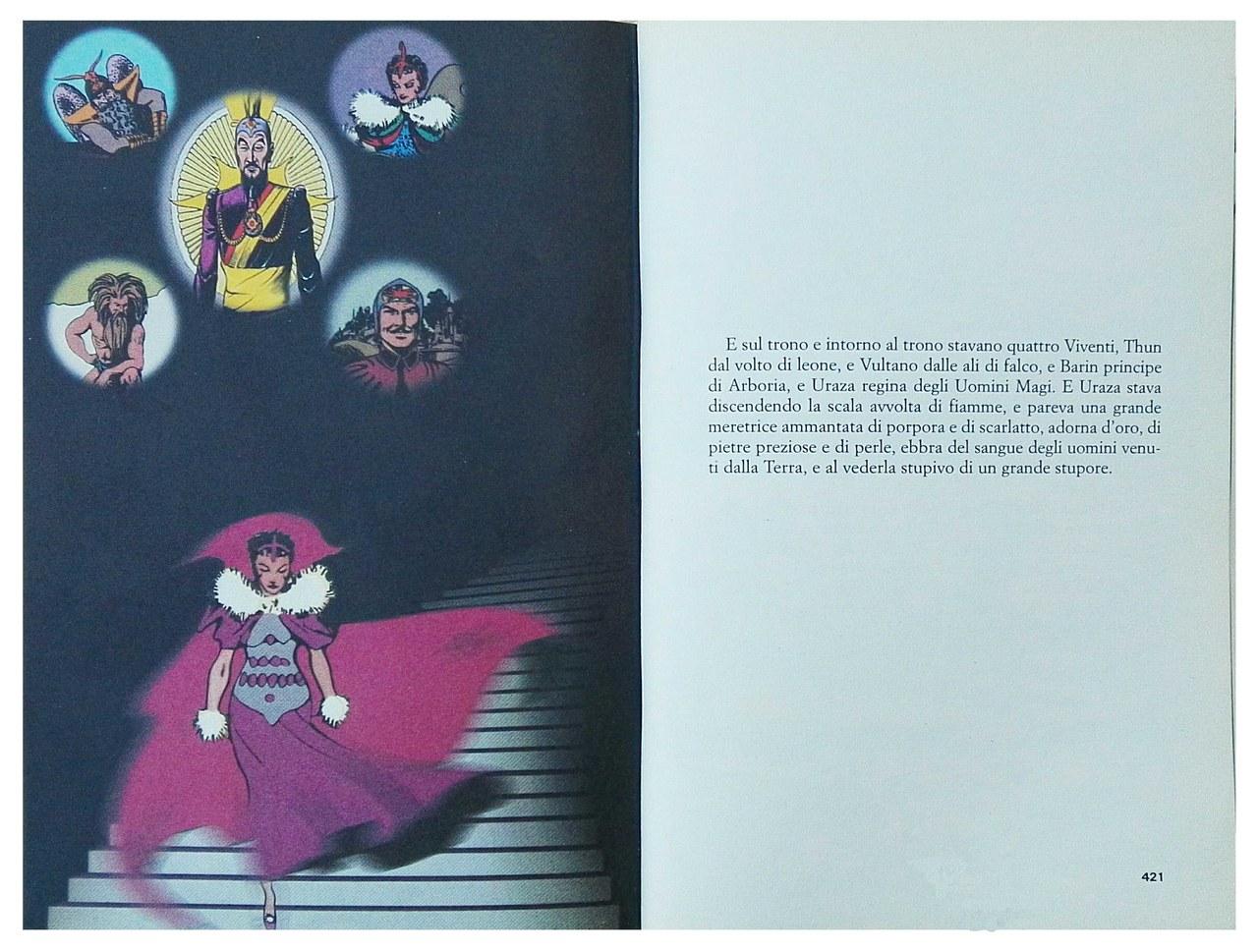 elaborazione d'autore da Alex Raymond, Flash Gordon, da La misteriosa fiamma della regina Loana, pp. 420-421