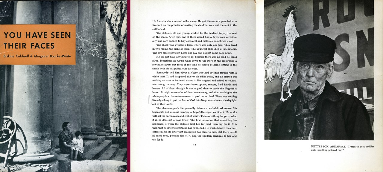 Erskine Caldwell e Margaret Bourke-White, You Have Seen Their Faces, New York, Modern Age Books, 1937 (copertina e pagina interna)