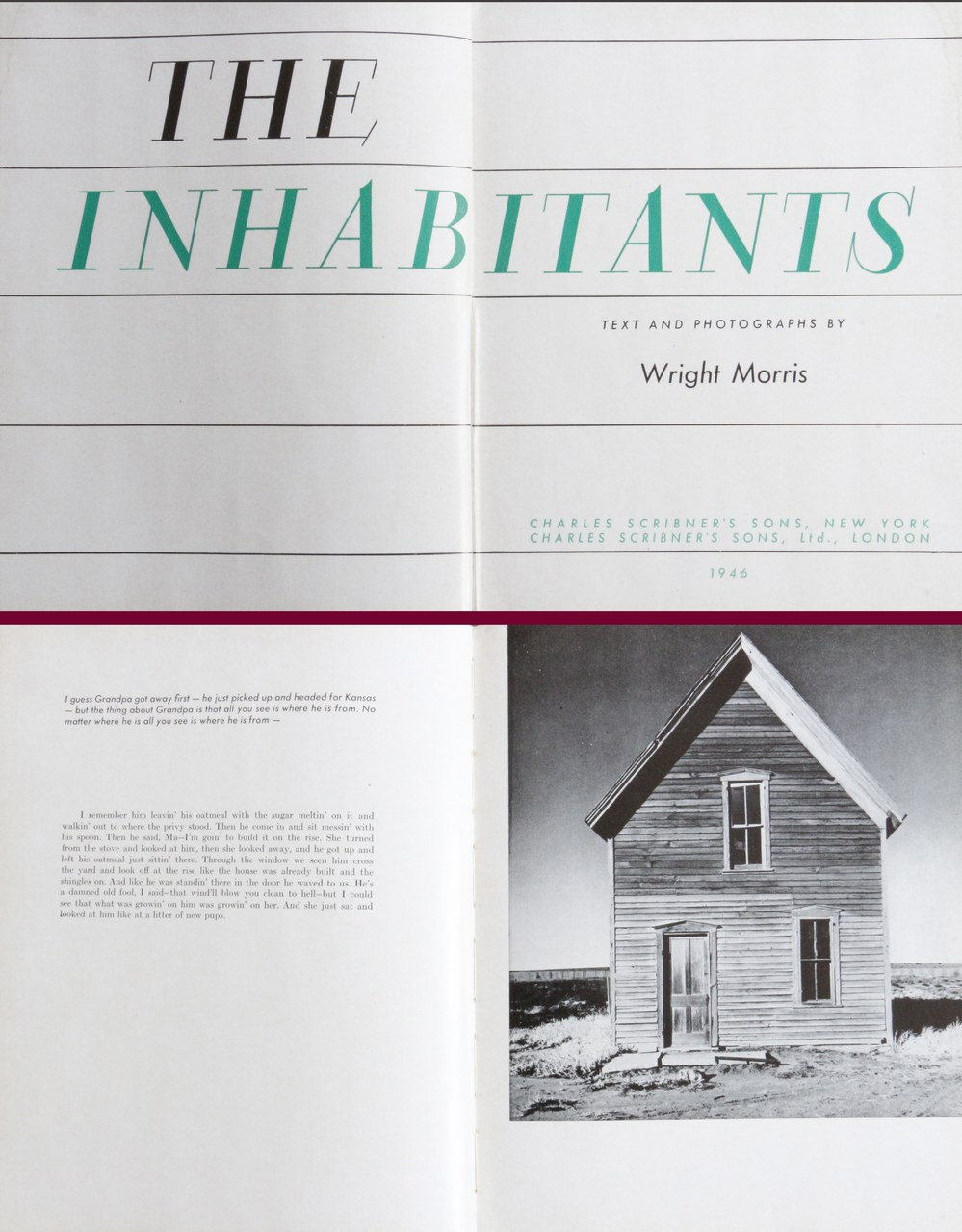Wright Morris, The Inhabitants, New York, Charles Scribner's Sons, 1946 (frontespizio e pagina interna)