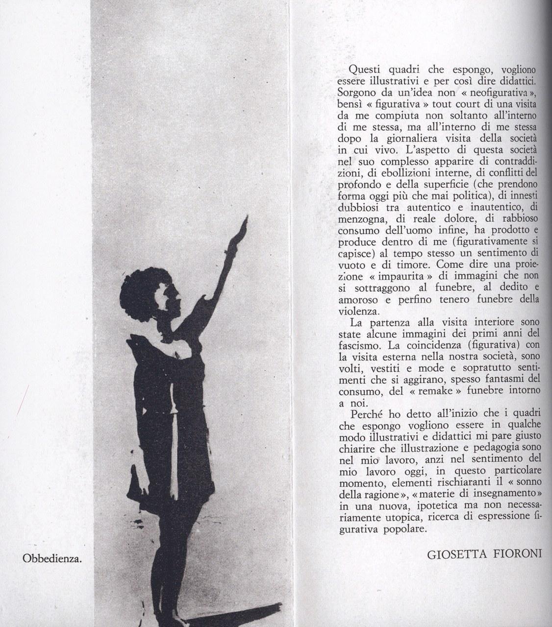 Brochure della mostra Giosetta Fioroni, galleria L'Indiano, Firenze, marzo 1970