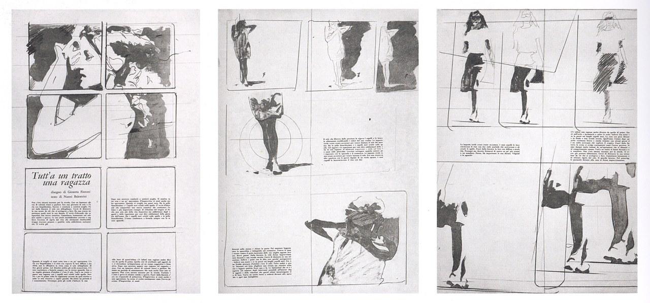 Tutt'a un tratto una ragazza, disegno di Giosetta Fioroni e testo di Nanni Balestrini, in La botte e il violino, marzo 1965