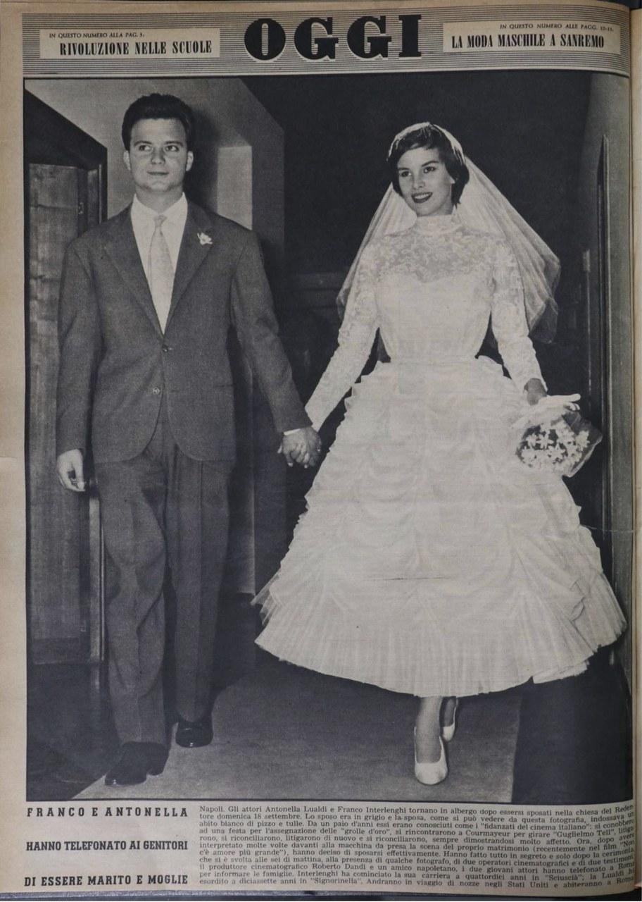 Le nozze di Antonella Lualdi e Franco Interlenghi sulla quarta di copertina della rivista Oggi, 1955