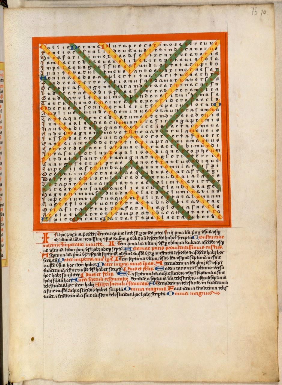 Optatian, poem. 10, as presented in Codex Parisinus 8916, folio 75r (Paris, Bibliothèque nationale de France); fifteenth century. (© Bibliothèque nationale de France, Paris)