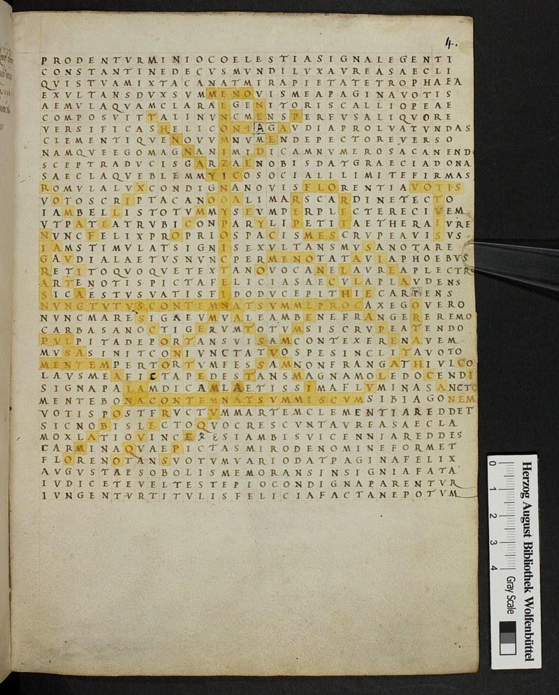 Optatian, poem 19, as presented in Codex Augustaneus 9 Guelferbytanus, folio 4r (Wolfenbüttel, Herzog August Bibliothek); sixteenth century. (© Herzog August Bibliothek, Wolfenbüttel)