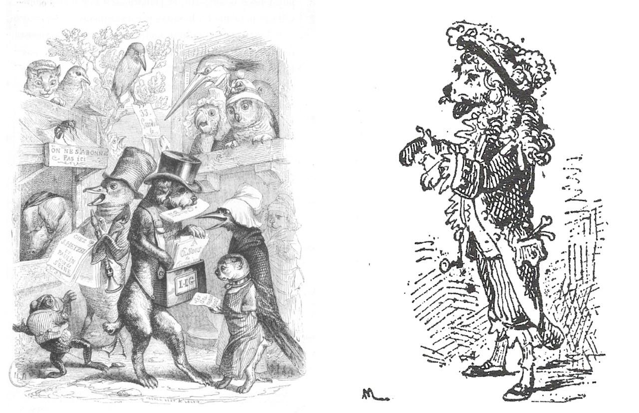 Fig. 1. Grandville, Les Animaux peints par eux-mêmes, illustrazione per Scènes de la vie privée et publique des animaux (1840); a destra Enrico Mazzanti, Medoro, illustrazione da Pinocchio (1883)