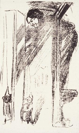 Fig. 4. Edmond Couturier, Alfred Jarry 'conduisant' Ubu Roi, inLa Critique, 5 aprile 1903 (poi inL'Étoile-Absinthe,17-18, 1983, p. 22. Per gentile concessione della Société des Amis d'Alfred Jarry