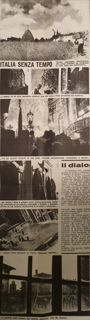Fig. 1 L. Crocenzi, 'Italia senza tempo', Il Politecnico, 28, 6 aprile 1946, p. 3 (particolare)