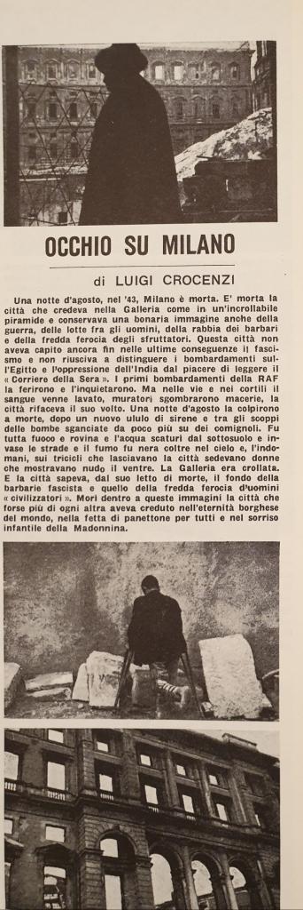 Fig. 3 L. Crocenzi, 'Occhio su Milano', Il Politecnico, 29, 1° maggio 1946, p. 13 (particolare)