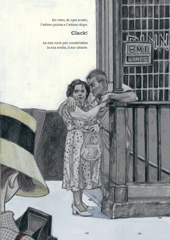 Una pagina interna del volume di Cinzia Ghigliano,Lei. Vivian Maier(Orecchio Acerbo, 2016)