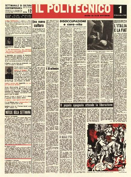 «Il Politecnico», n. 1, 29 settembre 1945 © Erede Steiner, per gentile concessione. Tutti i diritti riservati