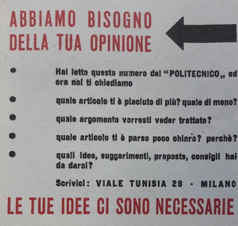«Il Politecnico», n. 1, 29 settembre 1945, p. 4 (particolare) © Eredi Vittorini, per gentile concessione. Tutti i diritti riservati. Published by arrangement with The Italian Literary Agency