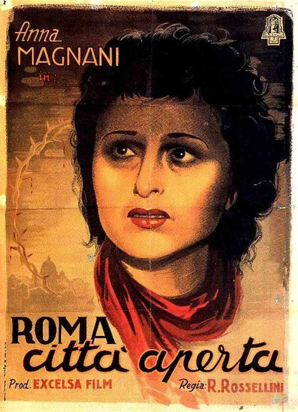 Anna Magnani nella locandina di Roma città aperta di Roberto Rossellini, 1945