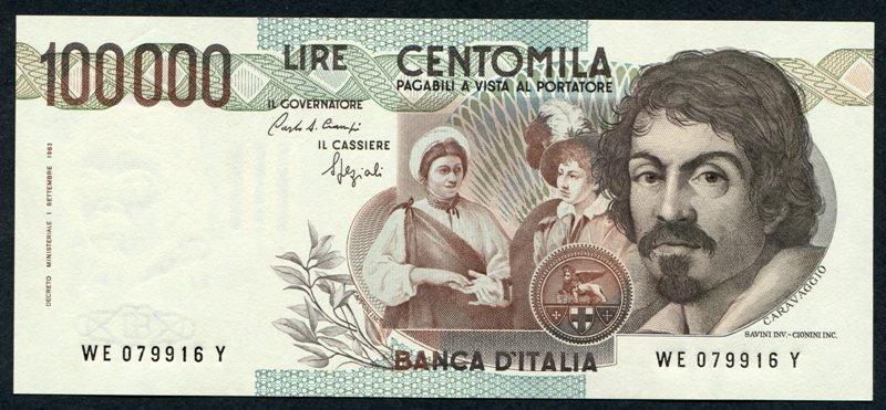 Banconota raffigurante Ritratto di Caravaggio di Ottavio Leoni, 1621