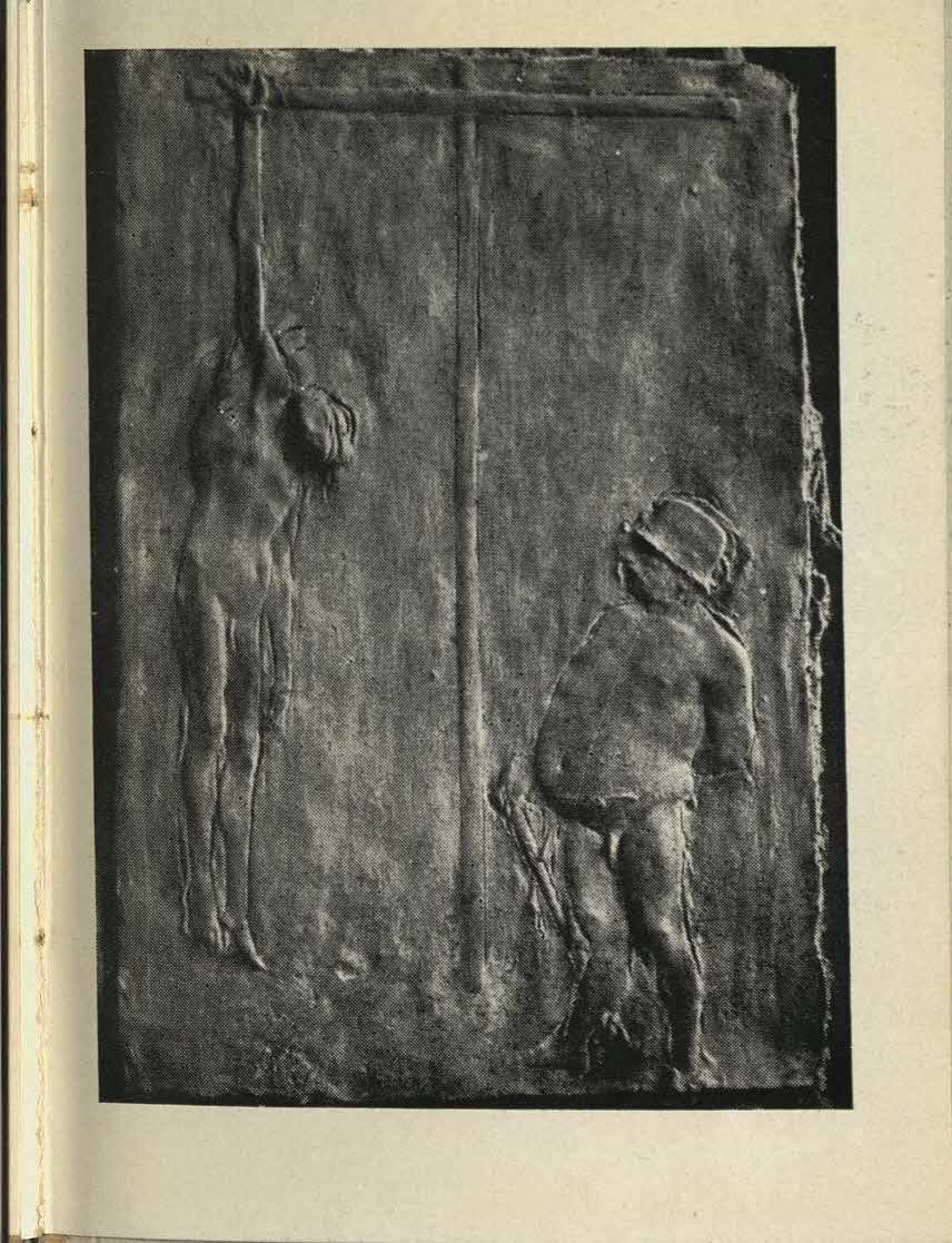 riproduzione della Crocifissione con soldato, 1942, bronzo (41,5x29,5), da A. Sassu, Passio Christi. Bassorilievi di Manzù, Milano, All'Insegna del Pesce d'Oro, 1945