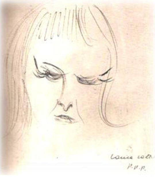 Laura Betti in un disegno di Pasolini, 1967 © Archivio Pasolini