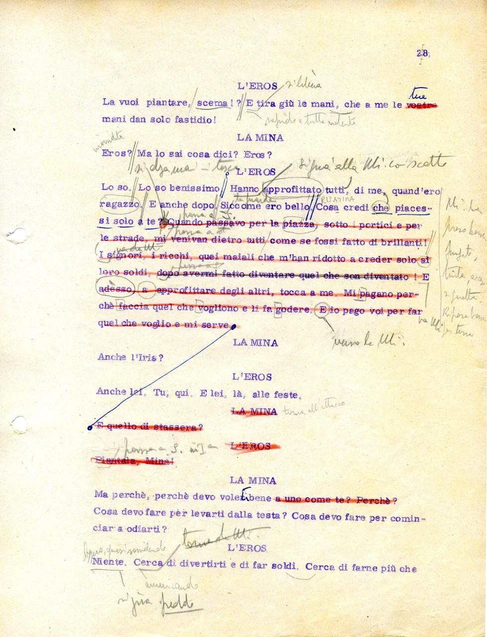 Tempo I, scena 1 (copione 27B, Fondo Stoppa © Museo Biblioteca dell'Attore di Genova)