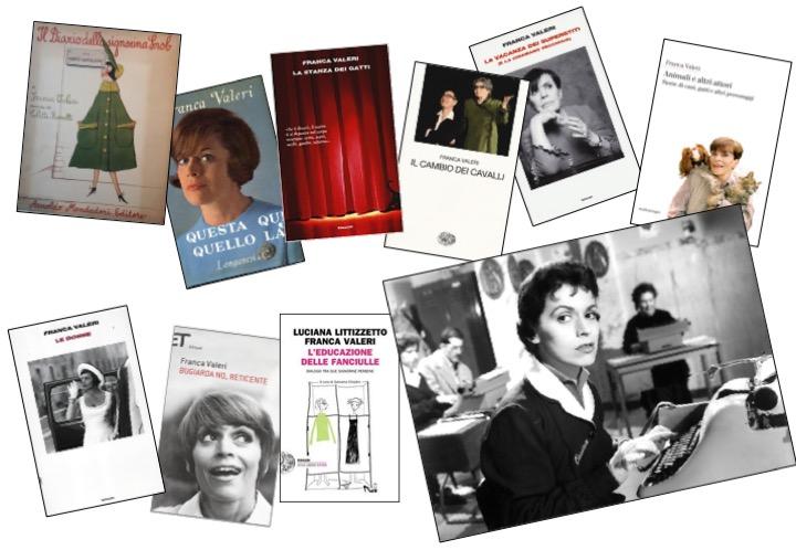 Alcuni libri di Franca Valeri e l'attrice che interpreta Cesira nel Segno di Veneredi Dino Risi, 1955