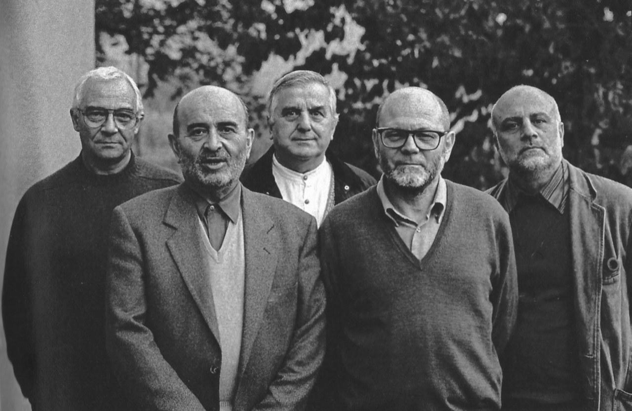 Gaetano Tranchino, Giulio Radaelli, Franco Sciardelli, Claude Ambroise, Ferdinando Scianna, Sonvico, 1995 © Ferdinando Scianna