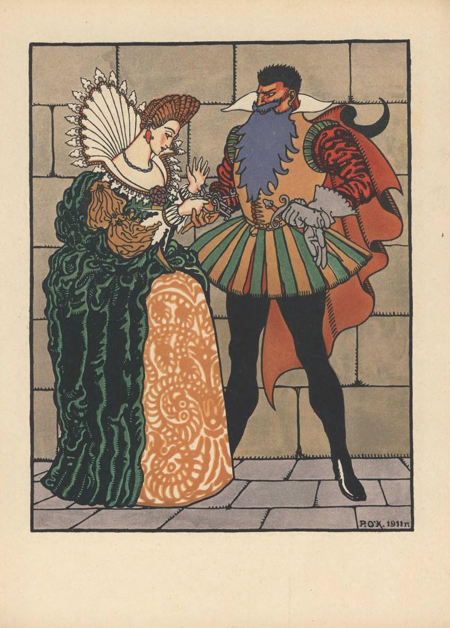 Fig. 2 [La consegna delle chiavi]. Illustrazione di R. O'Konnell' a Sinjaja boroda (Moskva, I. Knebel', 1914 [p. 4]