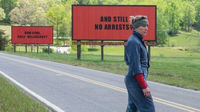 fotogramma dal film Three Billboards about Ebbing Missouri, 2018