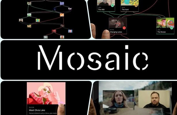 immagine di presentazione della serie interattiva Mosaic del regista Soderbergh con Sharon Stone, disponibile negli USA (2017) sotto forma di App, prima di essere rimediata nella forma canonica della miniserie tv. In Italia è andata in onda su Sky, gennaio 2018