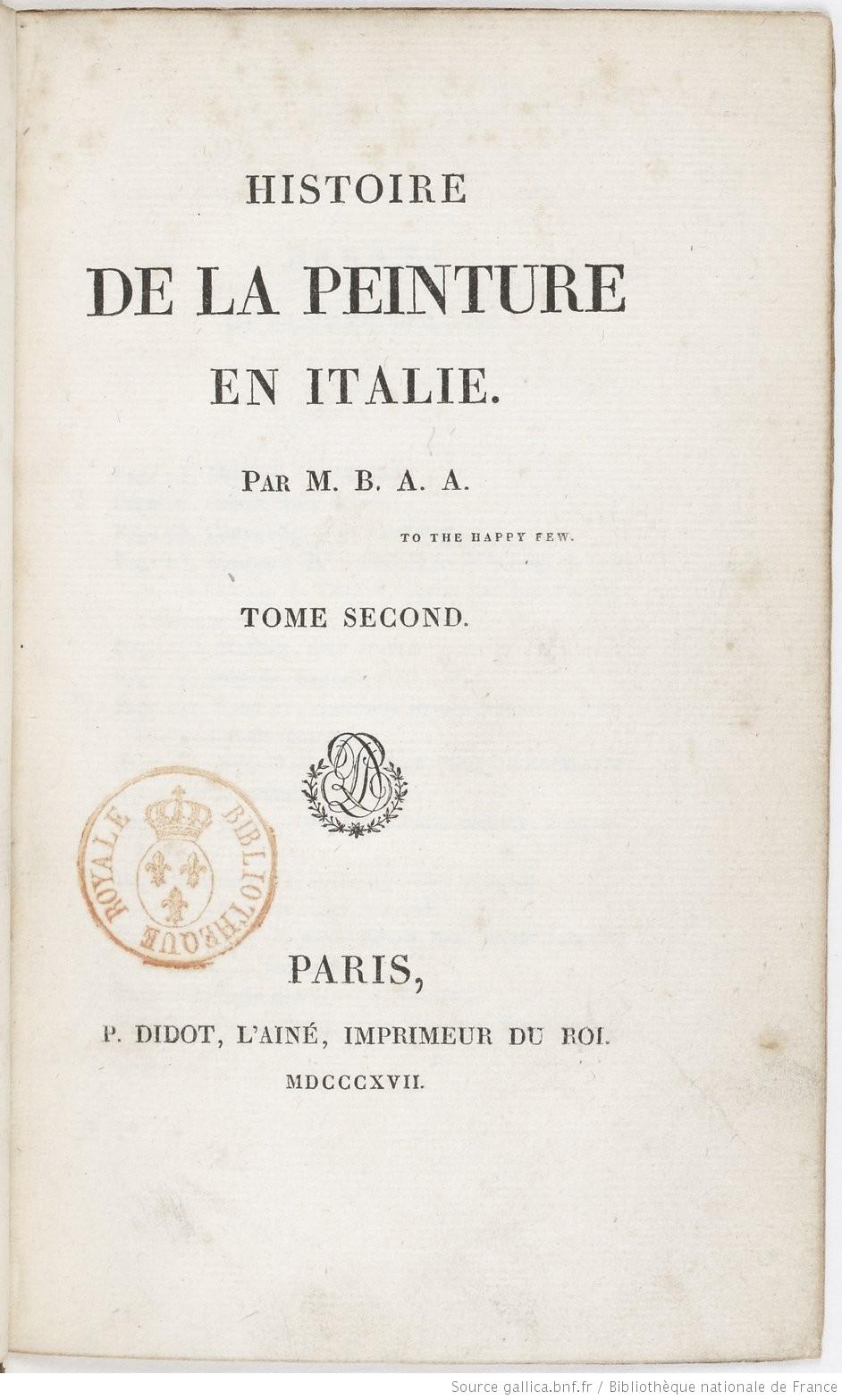 Frontespizio de l'Histoire de la peinture en Italie, 1817