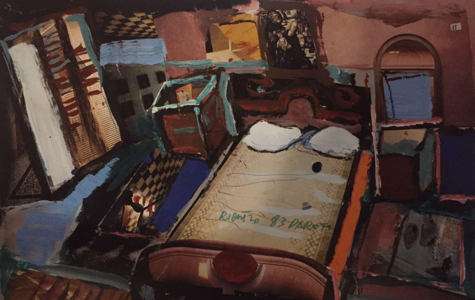 Disegno preparatorio in tecnica mista, pastelli e collage, per lo spettacolo Coppia aperta, quasi spalancata, 1983 ©Archivio Franca Rame-Dario Fo