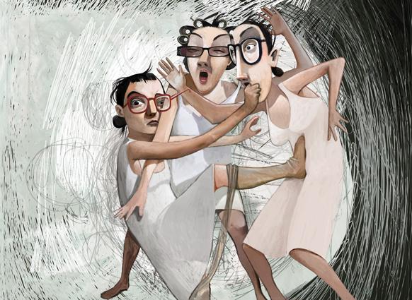 Anastasia, Genoveffa e Cenerentola, illustrazione di Maria Cristina Costa (2011)