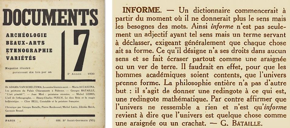 """La copertina del Numero 7 della rivista Documents (1929) e la voce """"Informe"""" di Georges Bataille dal Dizionario Critico"""